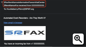 Figure 1 - Email From SFaxRemittanceInformationTransmittalCenter