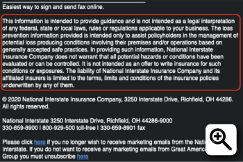 "Figure 2 - Disclaimer from a real law firm in Illinois, and links to a ""Risk Management Bulletin""."