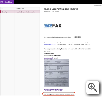 Figure 5 - OneNote page that includes a blurry picture of a document with a Bank of America logo