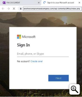 Figure 6 - Fake Microsoft Office 365 login page
